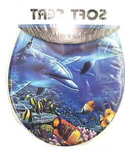 Dolphin Blue Soft Padded Cushion Toilet Seat Round Standard