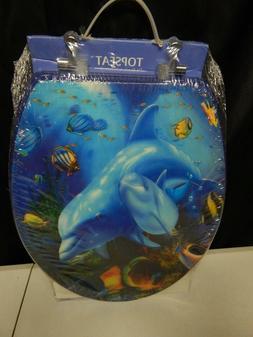 TOPSEAT dolphin family ocean marine toilet seat 3 D decor se