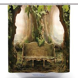 vanfan Durable Shower Curtains Romantic Seat In A Deep Fores