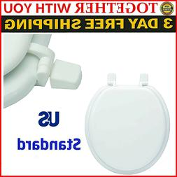 Durable Wood Round Toilet Seat White Lift Bathroom US Standa