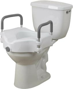 Elevated Raised Height Toilet Seat with Handle Commode Boost