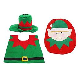 BleuMoo Elf Toilet Seat Cover and Rug Bathroom Set 1 Set Chr