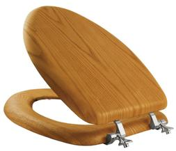Elongated Closed Front Toilet Seat Natural Oak  Solid Wood D