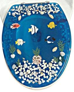 Elongated Fish Aquarium Acrylic Oval shaped Toilet Seat Blue