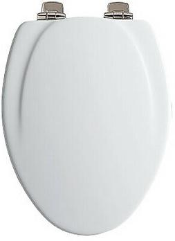 Elongated Molded Wood Toilet Seat, Brushed Nickel Whisper-Cl