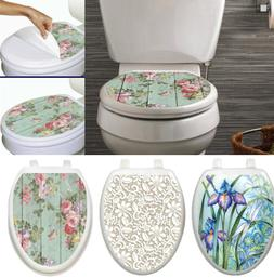 Toilet Tattoos Elongated Seat Cover Skin Choose Floral Iris