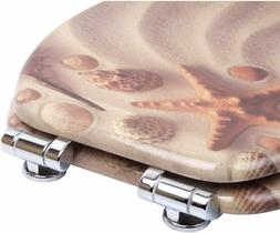 Elongated Toilet Seat Clam, Slow Close, Molded Wood Beach, S