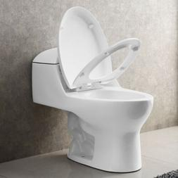 White Compact Dual Flush Elongated One Piece Toilet Comfort