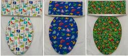 Fabric Toilet Seat Lid Cover and Toilet Tank Topper Dino Nin