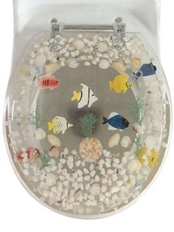 "Fish Aquarium Acrylic Round shaped Toilet Seat Clear 17"" INC"