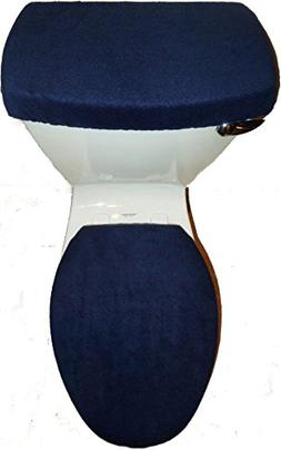 NAVY BLUE Fleece Fabric Toilet Seat Cover Set Bathroom Acces