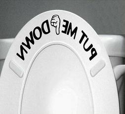 Gesture Hand PUT ME DOWN Decal Funny Bathroom Toilet Seat Vi