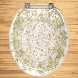 GOLD FOIL RESIN ACRYLIC TOILET SEAT, ELONGATED ROUND WITH CH