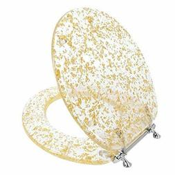 GOLD FOIL RESIN ACRYLIC TOILET SEAT, STANDARD ROUND WITH CHR