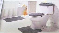 Gray Bathroom Rug Set 4 Pc