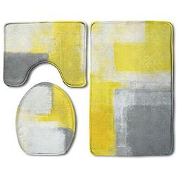 HanSmallT Grey And Yellow Abstract Art Painting White Non Sl