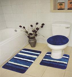 Homemusthaves New 3 Piece Super Soft Shaggy Stripes Bath Set