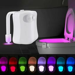 Hot 8-Color Motion Activated Toilet Night Light LED Seat Nig