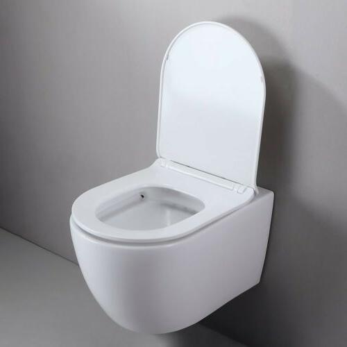 One-Piece Dual Flush Wall-Mount Toilet in White Included