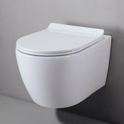 """One-Piece Dual Flush 12"""" Wall-Mount Elongated Toilet Bowl in"""