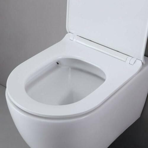 One-Piece Dual Flush Wall-Mount Toilet in Seat