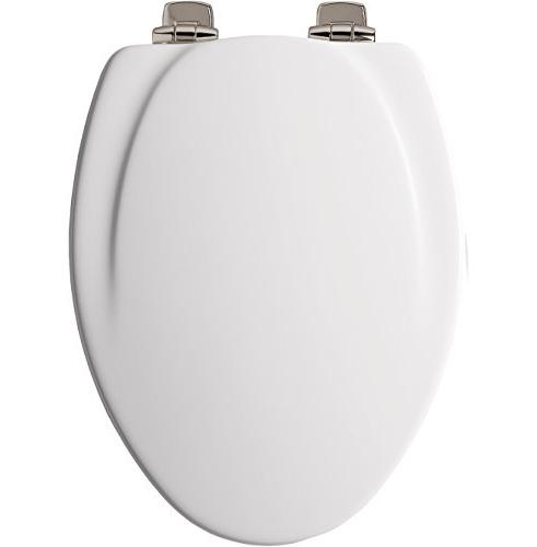 Mayfair Molded Wood Toilet Seat STA-TITE Seat Brushed-Nickel Metal Hinges, White, 130NISLB