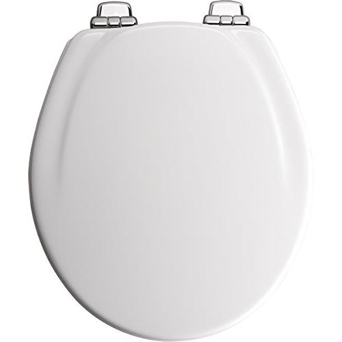 Mayfair Molded Wood Toilet Seat STA-TITE Seat System Chrome White, 30CHSLB 000