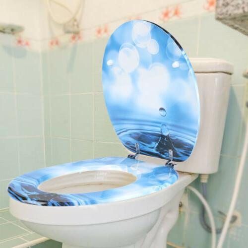 3D Ocean Sea Beach MDF Round Toilet Seat Lid Adjustable Hing