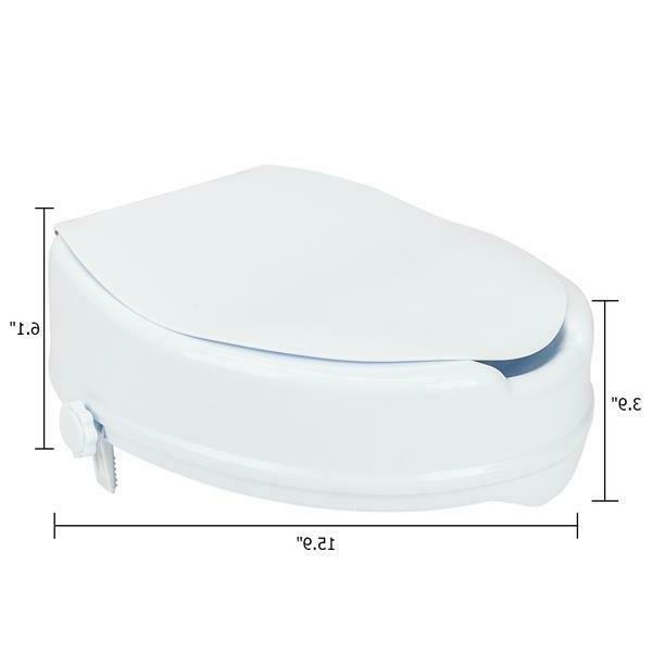 """Home 4"""" Quality Elevated Toilet Seat with Cover White Increased Seat"""