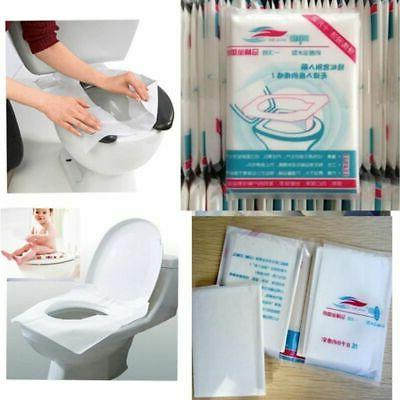 50PCS Toilet Seat Covers Disposable Waterproof Travel Portable WC