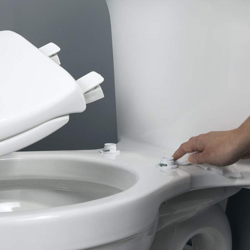 Bemis Round Toilet Seat Easy Change Hinge, White