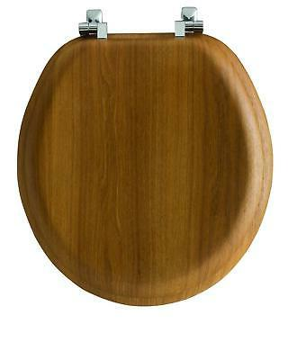 Solid Wood Toilet Seat Oak Round Wooden Finish Chrome Hinges