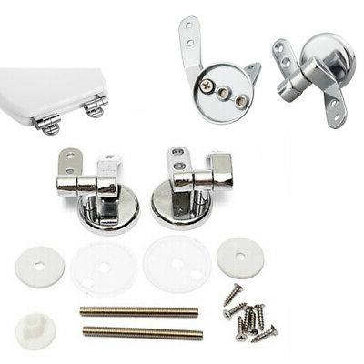 Pair of Chrome Finished Toilet Seat Hinges Set For Wood Seat