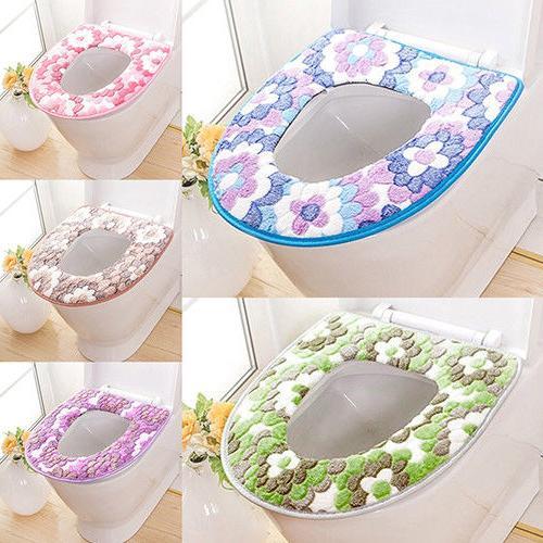 AG_ Flower Warm Toilet Seat Lid Cushion Bathroom