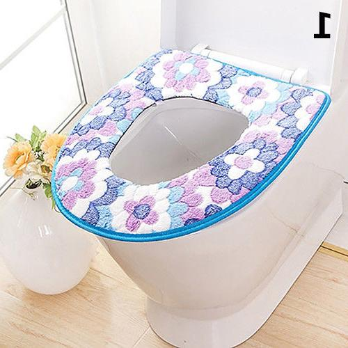 AG_ Flower Warm Toilet Cover Lid Seat Cushion Bathroom