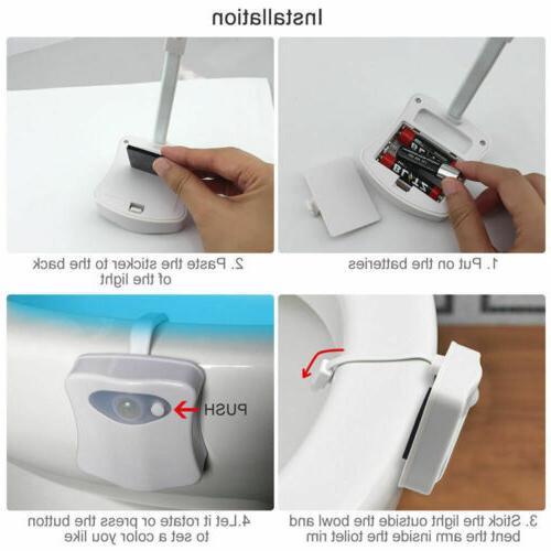 Automatic 8 Toilet Night Sensor Glow Seat
