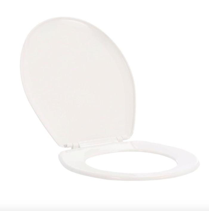 bathroom round closed front toilet seat white