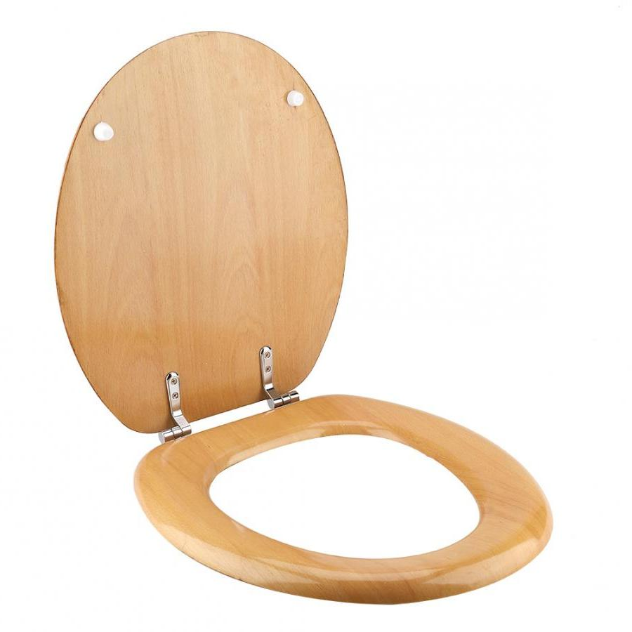 Beech Material with Adjustable Hinges Home Bathroom Accessory Wood Color Bathroom <font><b>Toilet</b></font>