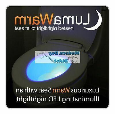 Brondell LumaWarm Heated Toilet Seat with nightlight white f