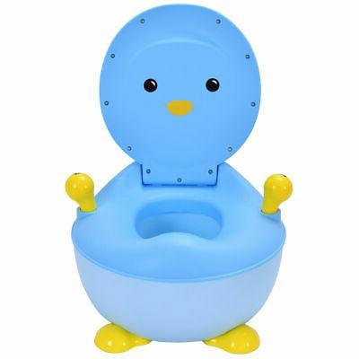 Children Toilet Training Trainer Blue Penguin Portable
