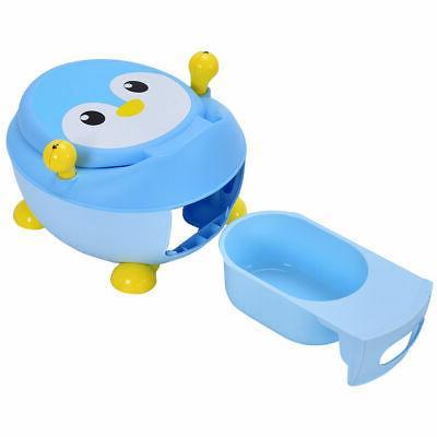 Children Baby Toilet Training Seat Blue Penguin Portable