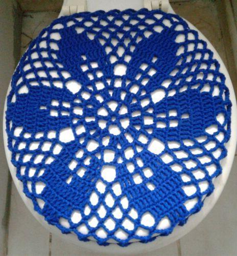 Crochet Toilet Seat Cover.Handmade Crochet Round Toilet Lid Seat Cover Royal Blue