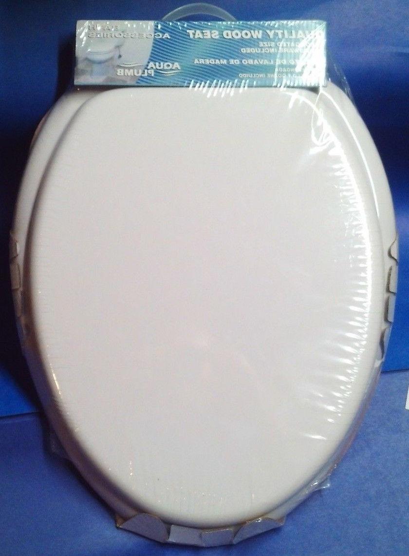 Aqua Plumb CTS104W Elongated Wood Toilet Seat - White - New