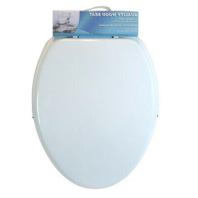 cts104w elongated wood toilet seat white new