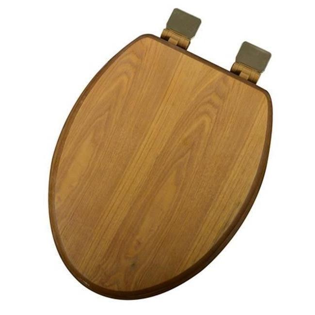 decorative wood elongated toilet seat polished brass