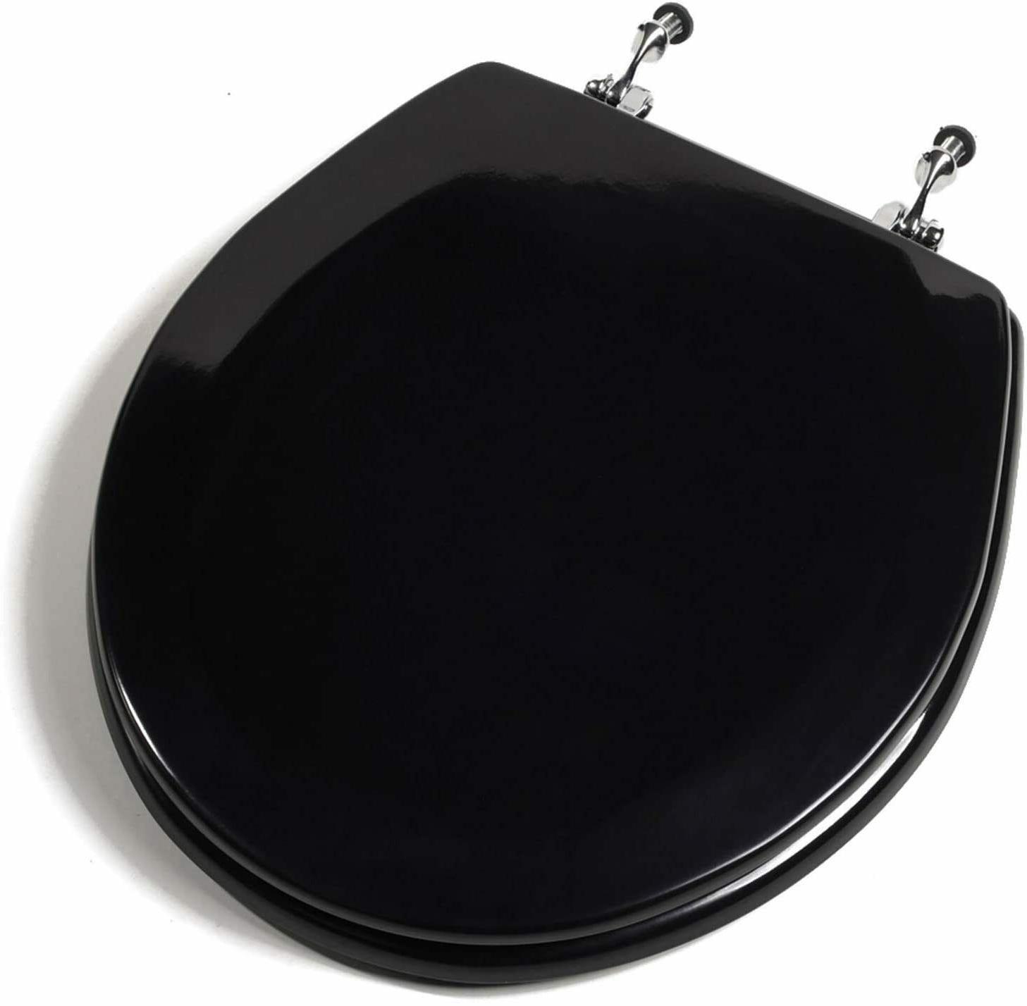 deluxe black round wood toilet
