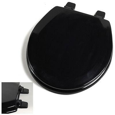 deluxe black wood round toilet