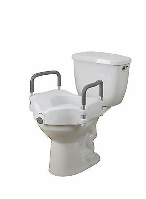 Deluxe Elevated Raised Toilet Seat with Removable Padded Arm