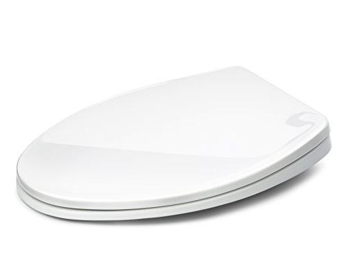 Bath Toilet White, Slow-Close, Easy Cleaning. Fits Elongated