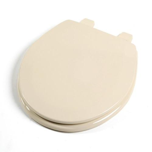 Deluxe Molded Round Wood Toilet Seat Almond